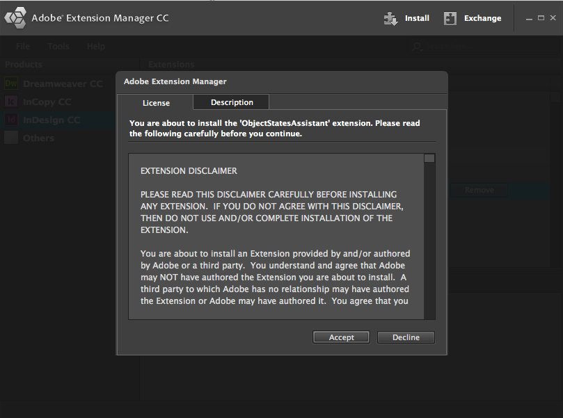 Adobe Extension Manager Install